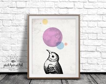 Bird Poster, Bird Illustration, Wall Art, Bird Art Print, Color Print, Digital Art Print, Printable Art, Bird-looking-up