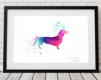 Dachshund Watercolor Print - Dog Print - Watercolor Art, Dachshund Painting - Animal Art - Watercolor Dog Painting - Poster - Dog Lover Gift