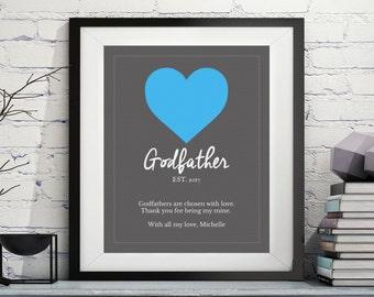 Godfather Art, Godfather Gift, Godfather Poem, Quotes, Godparent Gift, Baptism Gifts for Godfather, Godfather Print, Custom, Personalized
