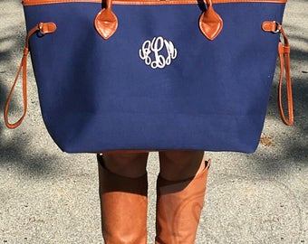 Monogramed Large Canvas Tote