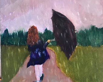 Walk in the Rain Oil Painting