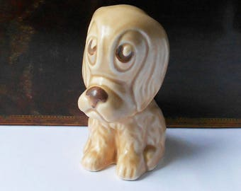 Vintage SylvaC Pottery Dog Figurine, 3092, Sad Sammy, Beige Pottery