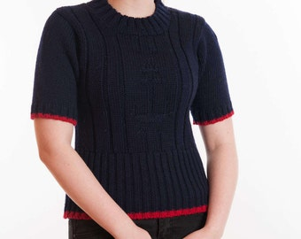 Ladies Short Sleeve Crew Neck Sweater with Anchor Motif