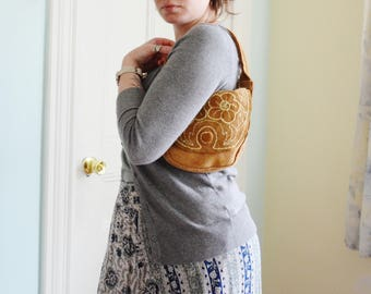 Soft Suede Shoulder Bag Embroidered Flap with Coin Purse