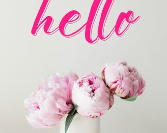 hello iPhone wallpaper, pink peonies, cellphone background, screensaver, floral photography, lettering, pink and black