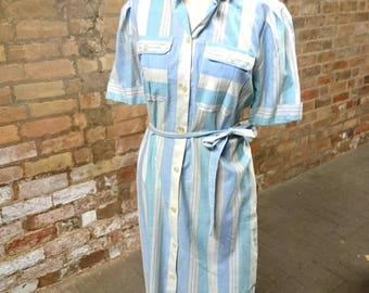 Vintage stripy day dress, striped dress, vintage day dress, 80's dress, belted dress, shirt dress