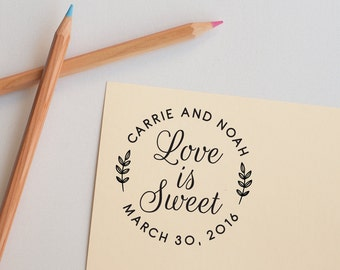 Save The Date Stamp, Custom Rubber Stamp, Round Save The Date, Wedding Stamp, Wedding Favor Stamp, Initials Stamp, Couple Stamp, Self Inking