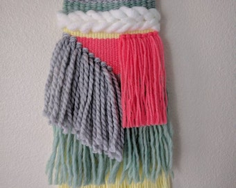 Multi-Colored Small Woven Wall Hanging | Brightly Colored Wall Tapestry | Pink, Yellow, White and Light Grey Wall Hanging