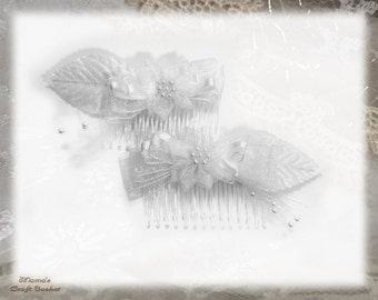 """White Chiffon Hair Combs, 4"""", Bride, Bridesmaid, Flower Girl, Maid of Honour, Sparkly, Beads, Netting, Tulle, Pearls, Wedding"""