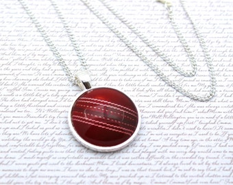Cricket Ball, Sport Necklace or Keychain, Keyring