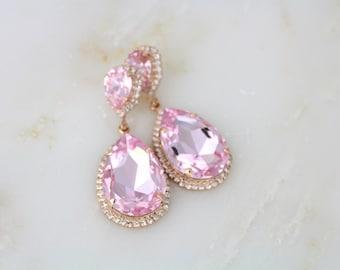 Rose Gold Earrings, Bridal earrings, Wedding jewelry, Pink crystal earrings, Statement earrings, Swarovski earrings, Wedding earrings