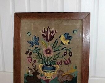 Floral Vase Needlepoint/ Vintage Needlepoint/ Vintage Sewing/ Floral Needlework/SALE  (1K)