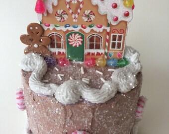 Petite Gingerbread House Fake Cake