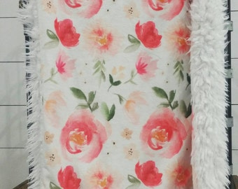READY TO SHIP Minky lovey, llama lovey, Floral lovey, Floral nursery, baby lovey, mini baby blanket, pink and peach floral blanket