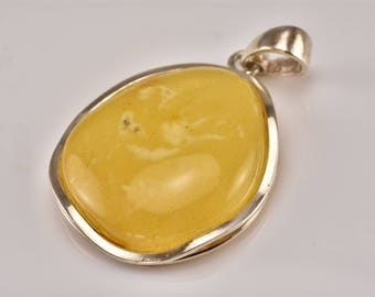 Amber Silver Pendant, Yellow Amber Pendant, Large Pendant, Gemstone Pendant, Amber Stone Pendant, Designer Pendant,