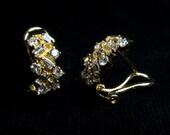 18k Baguette Diamond Half Hoop Earrings, Vintage Chinese