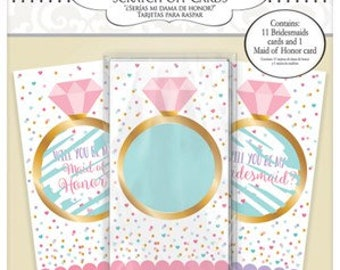 Will You Be My Bridesmaid Scratch Off Cards 12pk / Engagement Party / Proposal / Bridal Shower / Hen do decorations