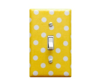 Polka Dot Light Switch Plate - Yellow and White Nursery Decor -Switch Plate Outlet Cover- Yellow -Girls and Boys Nursery Decor