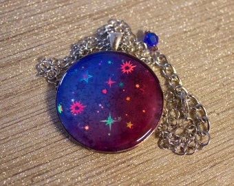 Holographic stars at dusk pendant necklace sealed in blue and red resin // gifts for her // color shifting // hologram pendant // dichroic