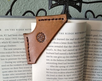 Leather boomarker, bookmarker, leather brown bookmarker
