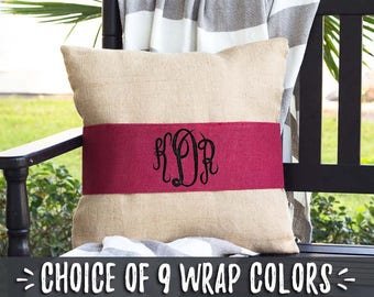 Unique Wedding Gift for Couples Pillows, Monogram Pillows, Wedding Anniversary Pillow Wrap, Bridal Shower Gift Burlap Pillow Wrap, 520550039