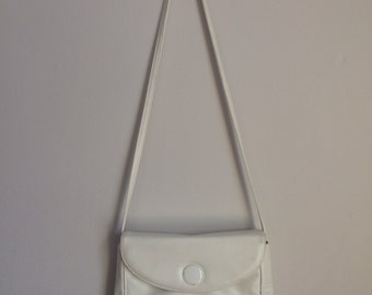 White leather crossbody bag, 80s, suede lining, Naturalizer, *vintage*