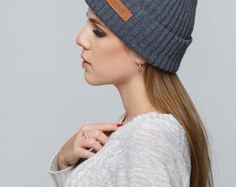 Women's Knit Hat / Mens Knit Hat / Winter Hat / Knitted Beanie / Gray Hat