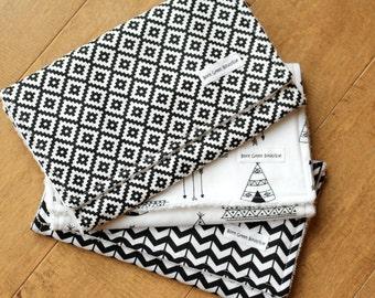Teepee Burp Cloths, Black and White Burp Cloths, Modern Baby, eco friendly, terry cloth, arrows