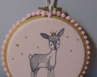 Cute little deer wall hanging with pom pom trim