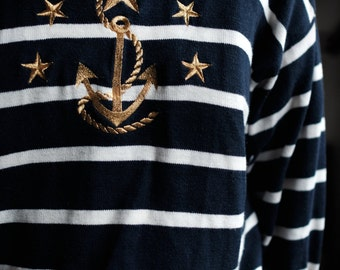 Anchor Sweater | Blue and White Stripe | Gold Embroidery