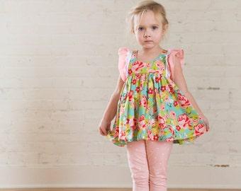 Girls Dress - Toddler Dress - Girls Flutter Sleeve Top - Toddler Top - Girls Flutter Sleeve Dress - Princess Clara - Spring Dress