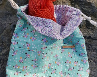 small reversible drawstring retro project bag for knitting, crochet