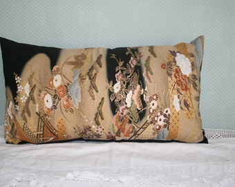 Vintage Japanese Silk Kimono Cushion