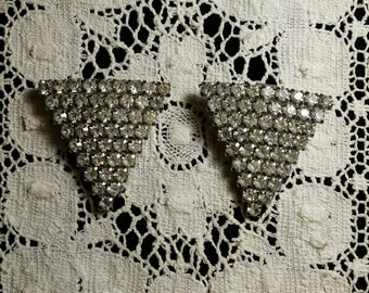 Vintage Rhinestone Art Deco Shoe Clips Triangles