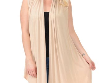 Asymmetric Open Front Vest Plus Size Cream