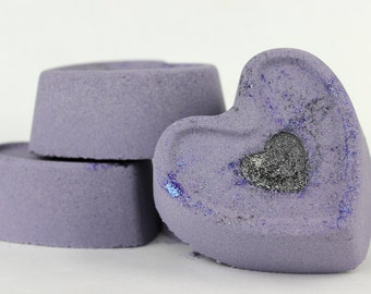 Nyx Bath Bomb - handmade foaming bath fizzy - heart bath bomb with sweet almond oil, glitter