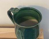 Ceramic Mug, Handmade mug, Leaf Decoration, Gardening Mug, 16oz, Ready to Ship