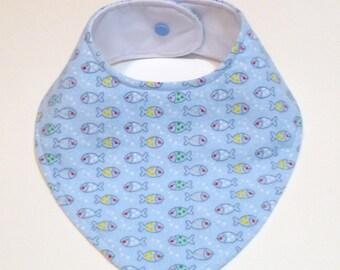 Fish Bib - Nautical Bib - Baby Shower Gift - New Baby Gift - Baby Boy Bib - Baby Bandana - Boy Bandana Bib - Waterproof - 1st Birthday Bib