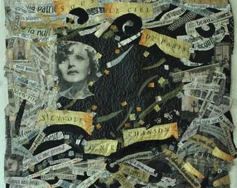 Original Art Quilt, textile Wall hanging, Edith Piaf, Song, Music, France, Paris, love, text quilt, Portrait quilt, great singer, old photo