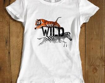 Tiger and Zebra Shirt African Safari Shirt Women's Clothing - African Safari Zoo Clothing Wildlife Shirt - African Tiger Shirt Clothing