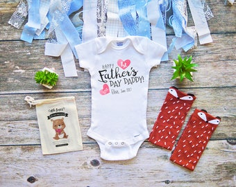 Happy 1st Fathers Day Onesie for Babies, Toddler Baby Girl Boys Father's Day, Bodysuit Personalize - Infant First Fathers Day Shirt - M306