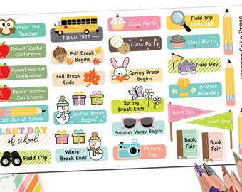 76 Back to School Stickers For Planner | Stickers for School Kids | Parent Teacher School Stickers | Field Trip Kawaii | Fits ECLP More