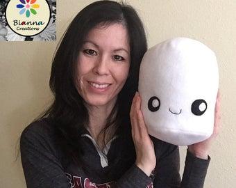 Handmade Kawaii White Marshmallow Plush - Japanese Anime food fleece plushie - Desk squishy soft cute toy