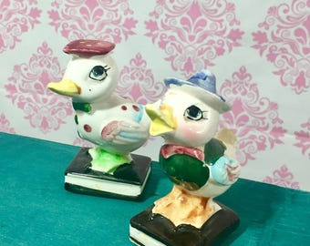 Vintage Duck Salt and Pepper Shakers, Japanese Ceramic Salt and Pepper Shakers, Kitschy Kitchen, Mid Century Kitchen Accessories
