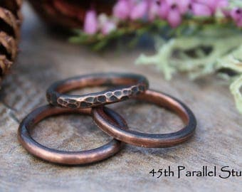Stacking Ring Set, Thick Stackable Rings, Rustic Copper Rings, Hammered Copper, Stackable Rings, Ring Set, Copper Rings, Patina Copper