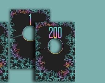 Live Sale Number Tag Cloth Hanging Divider Hanger, Number 0 - 200, Floral Colors on Black, Printable ,