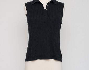 Vintage Black Cable Knit Sleeveless Collared Sweater Vest by Jones New York
