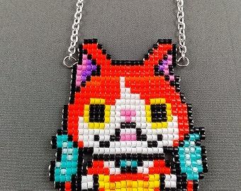 Jibanyan Necklace - Yo-Kai Watch Necklace Yo-kai Watch Jewelry Pixel Necklace Cartoon Necklace 8bit Jewelry Geeky Gifts Anime Necklace