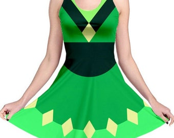 Peridot Cosplay Dress - Skater Dress Steven Universe Dress Crystal Gem Dress Fusion Dress Peridot Cosplay Nerdy Dress Geeky Dress