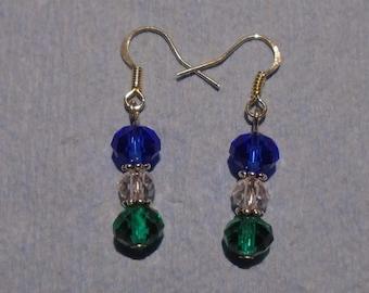 Blue & Green Crystal Earrings